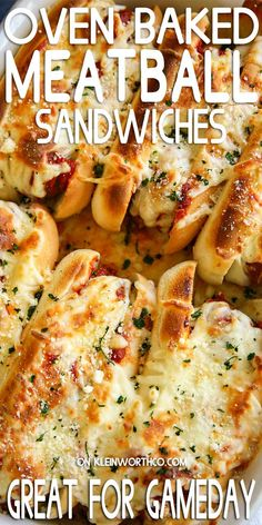These Oven-Baked Meatball Sandwiches are so incredibly easy to make. Loaded with melted cheese & marinara sauce, making these perfect for your game day crowd. Meat Recipes, Cooking Recipes, Sausage Recipes, Sandwich Recipes, Recipies, Oven Baked Meatballs, Baked Meatball Recipe, Delicious Sandwiches, Sandwiches For Dinner