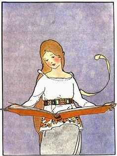 'Love this illustration by Margaret Evans Price in Bates, Katharine Lee, editor. Once Upon a Time: A Book of Old-Time Fairy Tales. Reading Art, Girl Reading, Reading Room, Etsy Vintage, Tarot, Books To Read For Women, Children's Book Illustration, Book Illustrations, Book People