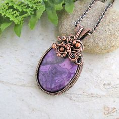 Wire Wrap Necklace, Unique Jewelry, Birthstone Jewelry, Purple Lace Agate Necklace, Anniversary Gift for Wife, One of a Kind Jewelry