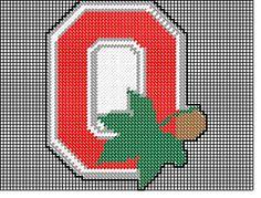 o for ohio Cross Stitch Designs, Cross Stitch Patterns, Quilt Patterns, Crochet Patterns, Cross Stitching, Cross Stitch Embroidery, Ohio State Crafts, Buckeye Crafts, Swedish Weaving