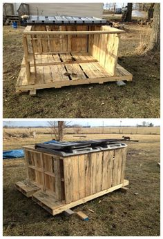 #Firewood, #Garden, #RecyclingWoodPallets I use a wood stove for heat, so I needed a staging firewood. One issue I had was having a way of keeping a dry collection available to bring into the house from the bulk storage. I found these pallet skids that were used to transport park benches.
