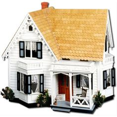 All-Wood-Elaborate-Carpenter-Gothic-Style-Dollhouse-Kit-Model-Open-back-Play