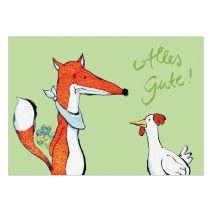 Lustige Geburtstagskarte mit Fuchs und Huhn: Alles Gute!