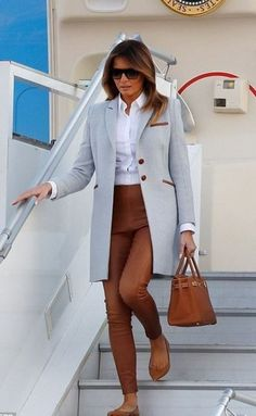 Melania Trump wearing Polo Ralph Lauren Leather Skinny Pants in Cocoa Bean, Hermes Birkin Bag, Christian Louboutin Solasofia Flats in Maya Nappa, Isoude Driving Coat With Leather Details in Blue and Saint Laurent Sl 1 Sunglasses in Havana 004 and Smoke Office Fashion, Fashion 2020, Star Fashion, Fashion Outfits, Womens Fashion, Girl Fashion, Milania Trump Style, Kate Middleton, First Lady Melania Trump