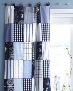 Grande plano de cortinados de retalhos feitos à mão.
