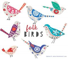 Folk Birds  From the Ink Nest.  Love this shop and all their digital clip art designs.