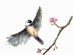 Bird watercolor print/ Flying Chickadee watercolor print 8x10/  Fine Art Print-watercolor bird- bird art, nature, bird watercolor painting