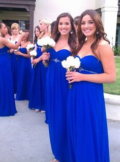 Royal Blue Sweetheart Pleated Bust Floor Length Bridesmaid Dress With Beadings On The Waist on Luulla