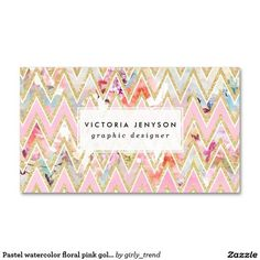 Love everything about these chevron, gold foil, marble, unique business cards