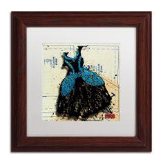 'Black n Blue Swirls' by Roderick Stevens Framed Graphic Art