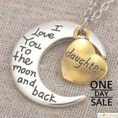 """Today Only! 6% OFF this item. Follow us on Pinterest to be the first to see our exciting Daily Deals.  Today's Product: Sale -  Two-Toned Antique Silver Gold Flashed Heart Family Members """"I Love You To The Moon and Back"""" Pendant Necklace (Daughter).  Buy now: http://www.barbaracute.com/products/two-toned-antique-silver-gold-flashed-heart-family-members-i-love-you-to-the-moon-and-back-pendant-necklace-daughter"""