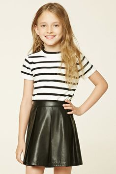 Forever 21 Girls - A knit top featuring an allover striped pattern, round neckline, short sleeves, and a high polish button accent on left shoulder.