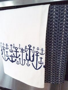 Hand printed Nautical Tea Towel by AKinginLove on Etsy