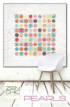 PEARLS features two of my new Spring lines: FOR YOU and PAPER (those are low volume prints). It is rally easy to do, machine appliquéd circles. And since it makes use of Charm Packs it saves you cutting time and you have nearly no fabric waste.