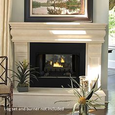 Modern Ventless Gas Fireplace with white soft carpet | Fireplace ...