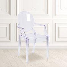 Flash Furniture Transparent Crystal Ghost Chair with Arms - Walmart.com - Walmart.com