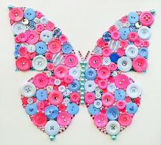 Popular items for canvas button art on Etsy Coin Crafts, Bead Crafts, Diy And Crafts, Arts And Crafts, Paper Crafts, Butterfly Canvas, Butterfly Crafts, Blue Butterfly, Button Art On Canvas