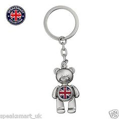 #Silver #union jack teddy bear keyring british london england #souvenir keychain,  View more on the LINK: 	http://www.zeppy.io/product/gb/2/182055513188/