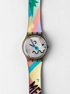 to ] Great to own a Ray-Ban sunglasses as summer gift. Vaz Vaz Derbru Vintage Swatch Cosmesis by Alessandro Mendini Watch Vintage Swatch Watch, New Wave, Cool Watches, Men's Watches, American Apparel, Fashion Accessories, Retro, My Style, Bags