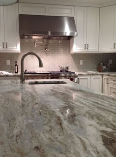 Element Mist Glass 2 X 6 With Fantasy Brown Granite.Photo Credit To  Tile U0026  Stone Works Slabs Tiles