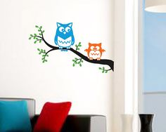 "Owl wall decal - cute OWLS on a tree branch. Birds nursery decal, kids room owl decal sticker - 23.5""x14"" on Etsy, $25.00"