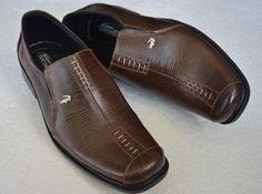 sepatu pantofel pria berbahan kulit cokelat (crocodile 007) harga Rp 185.000