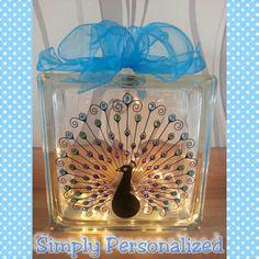 LED gemmed peacock glass block. £18 + £7.50 p&p.