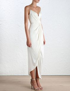 Sueded Silk Plunge Long Dress, from our Spring 16 collection, in Pearl sueded silk. | Zimmermann