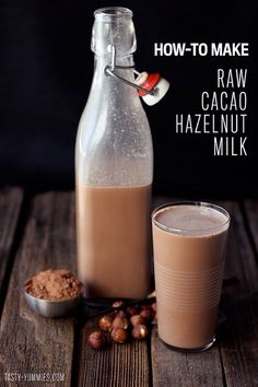 Raw Cacao Hazelnut Milk makes 1 quart. 1 cup raw unsalted organic hazelnuts. 4 cups water. pinch of himalayan sea salt. 2 tablespoons local raw honey or other sweetener. 1 vanilla bean (Stevia with vanilla flavor would be good, 2 steps in one) 2 tablespoons raw cacao powder