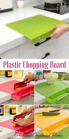 Safe, Durable & Easy to Clean, ultra-strong cutting surface is gentle on cutlery and knives and can be put in the dishwasher for quick, easy cleanup. Chop, Scrape & Dice – Tough enough to withstand heavy chopping, slicing, dicing and sharp knives, our surface won't retain stains or odors for long-term use.#plasticchoppingboard #thatorganizedhome #kitchengadgets #kitchentools Home Gadgets, Kitchen Tools And Gadgets, Essential Kitchen Tools, Smart Home, Multifunctional, Kitchen Organization, Kitchen Accessories, Cool Kitchens, Plastic Cutting Board