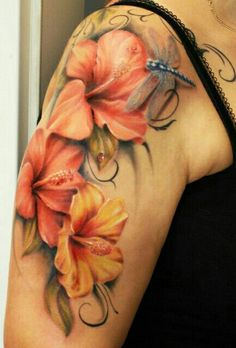 Hibiscus flowers & dragon fly tattoo