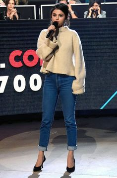 Selena Gomez in a cream sweater, jeans and heels - click through for more fall outfit ideas