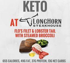 Keto at Longhorn Steakhouse Ketogenic Food List, Keto Fast Food, Fast Food Menu, Fast Healthy Meals, Ketogenic Recipes, Keto Recipes, Jambalaya, Keto Restaurant, Keto On The Go