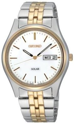 Item Seiko Men's Watch Model # SNE073 Case Polished stainless steel Dial Color White Hands Black and luminous hour and minute. Gold tone second Markers Black and gold tone indices Clasp Type Push butt