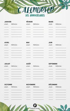 calendrier des anniversaires à imprimer gratuitement