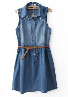 Blue Rivet Lapel Sleeveless Buttons Skinny Denim Dress