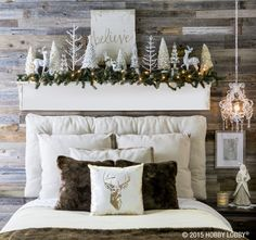 I need those white twiggy trees and bedside chandelier❤️