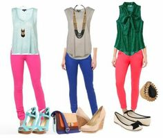 my closet: outfit1 - pink jeans (f21).  tank (hm).  outfit2 - blue jeans (old navy).  grey top (old navy).  (nothing for outfit3).