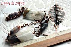 Foto: LEAVE. Collana in rame con elementi forgiati a mano, grandi quarzi striati  (5.5 cm) e corniole.