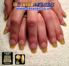 Lite Gold with Champagne Nano Glitter Inverted Moulds by Leanne from The Nail Lounge in Northwich Cheshire. Find us on Facebook:  www.facebook.com/enukinvertednailsystems