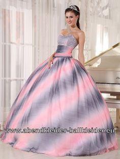 Buntes Brautkleid Abendkleid Sissi Ballkleid Silber Rosa