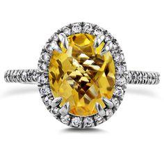 6d32d6ccb Oval Cut Orange Citrine and Diamond Halo Ring 2 3/5ct CTW 14k White Gold