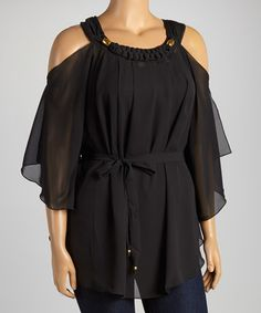 Look what I found on #zulily! Black Sheer Off-Shoulder Top - Plus by Madison Paige #zulilyfinds