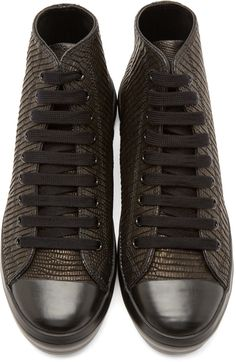 Christian Peau Black Lizard High-Top Sneakers