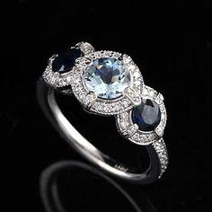 Diamond Aquamarine and Sapphire Engagement Ring 14K White Gold