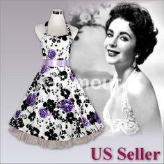 Purple Rose Halter Neck 50s Rockabilly Swing Party Prom Wedding Vintage Dress  #Cocktail