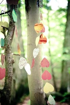 recycled paper heart garlands in the trees. so light and magical I Love Heart, Happy Heart, Paper Heart Garland, Diy Garland, Sustainable Wedding, Arts And Crafts, Diy Crafts, Romance, Joy And Happiness