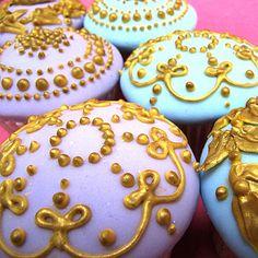gold embellished cupcakes
