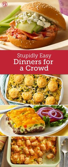 Easy Crowd-Size Dinners Whether you're hosting family or unexpected guests for dinner, these easy-to-throw-together meals feed the crowd with pantry staples and minimal prep. Cooking For A Crowd, Food For A Crowd, Dinner For Crowd, Dinner Ideas For Guests, Easy Group Dinner, Main Dish For Potluck, Potluck Dishes, Cassoulet, Mary Berry