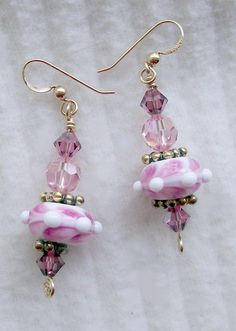 Pink Lampwork and Pink Swarovski Crystal Earrings with by Cindy Bird, $21.50